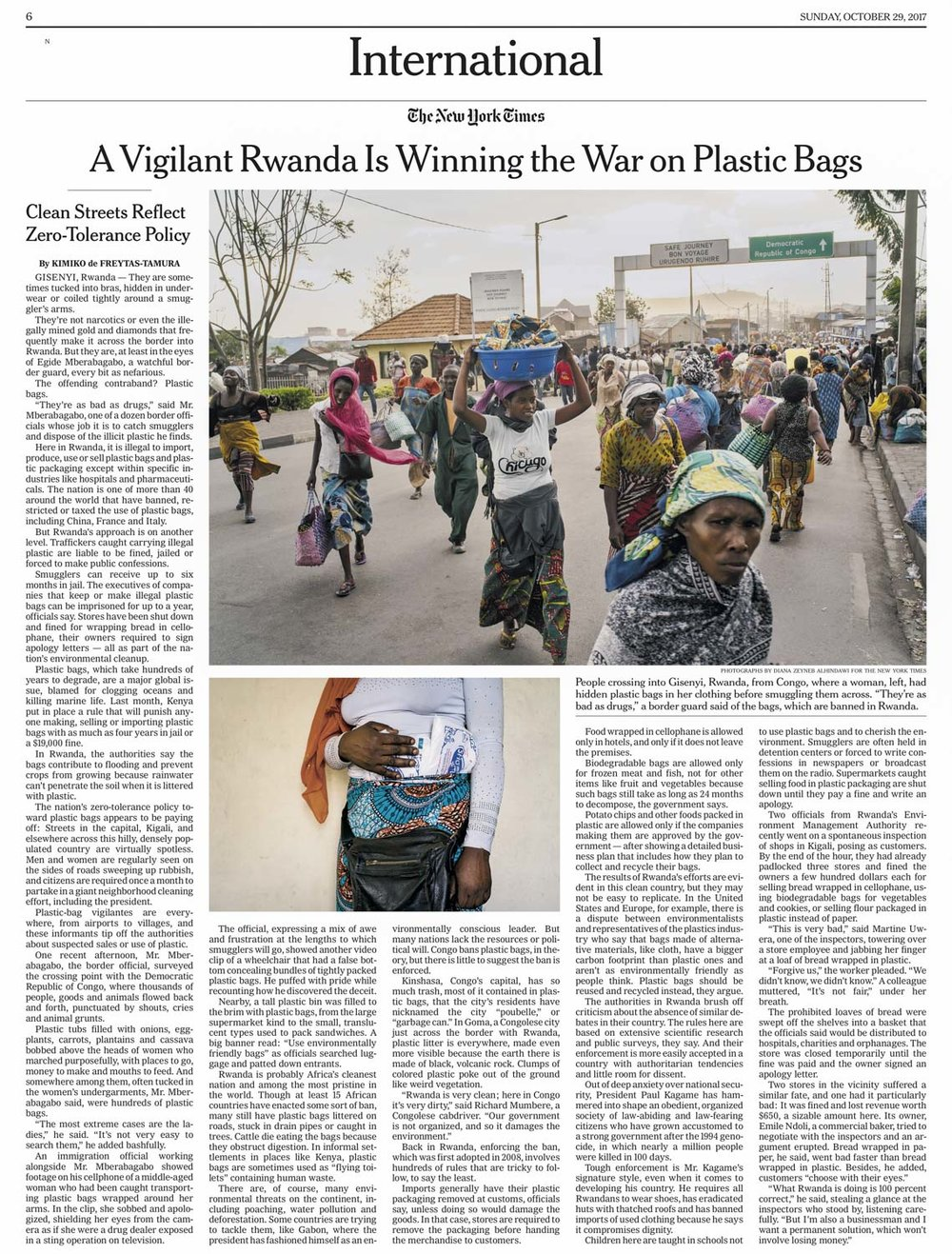 CLICK on title for online version     A vigilant Rwanda is winning the war on plastic bags  | The New York Times, page A6, Oct 29, 2017