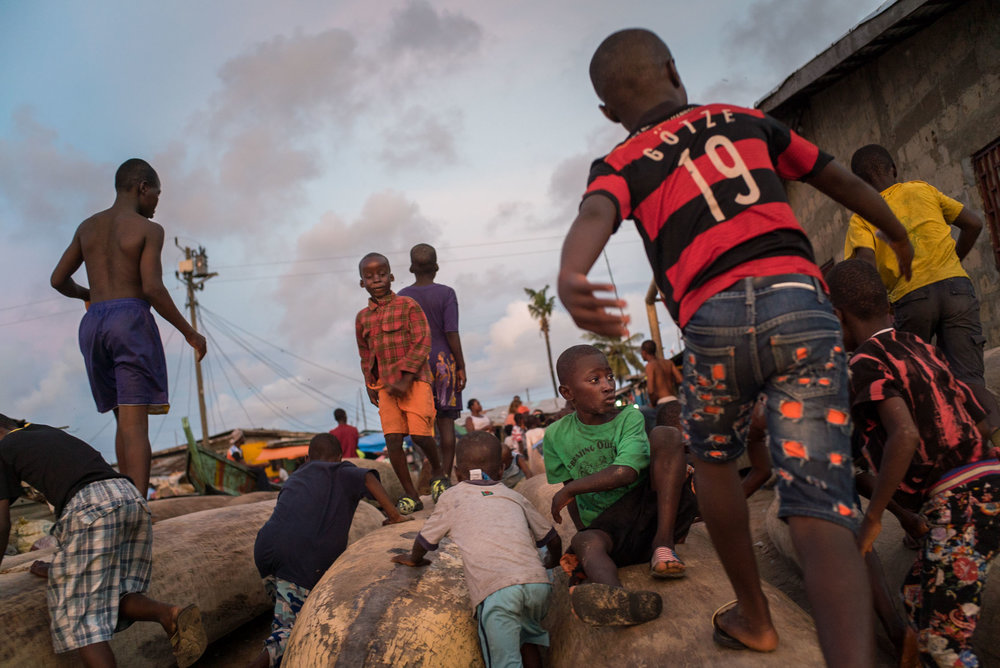 Children in daily life in Westpoint slum area of Monrovia, Liberia, once the epicenter of ebola crisis. September 25, 2016. Monrovia, Liberia.
