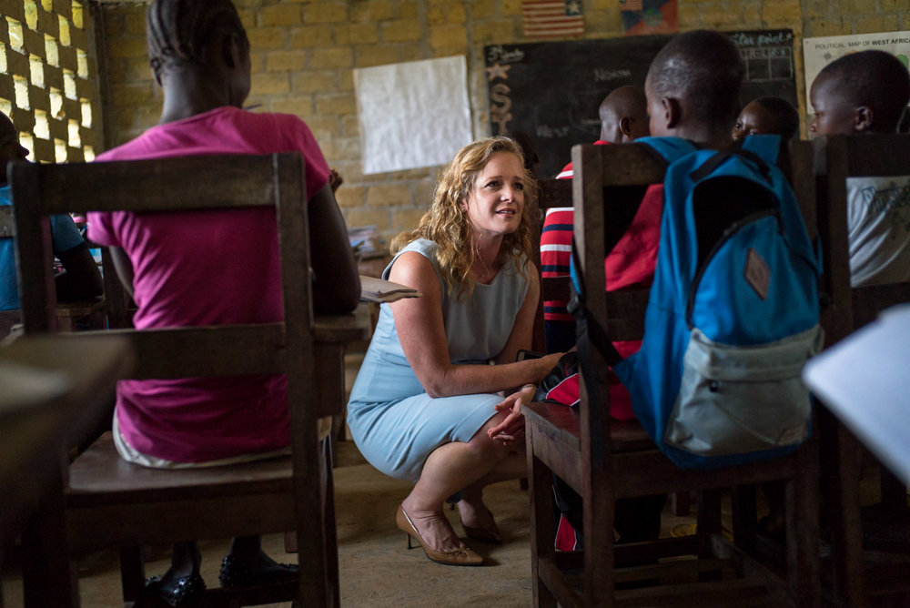 Shannon May, founder of Bridge International Academies, at one of her schools in TK Plantation, a rural community outside of Monrovia, Liberia. September 26, 2016. TK Plantation, Liberia.