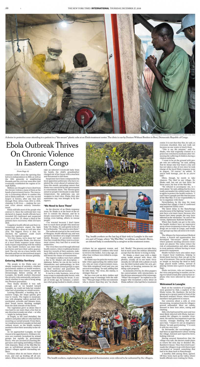 Ebola crisis thrives on violence in Congo forest  | The New York Times (print), national edition, page A1 and A4, Dec 26, 2018