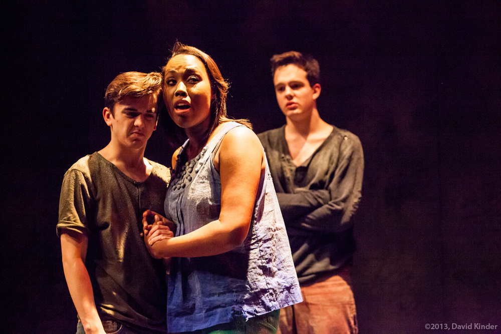 Tristan Comella as Manny, Tayler Harris as Lissa, and Christopher James as Saul in  First Kiss