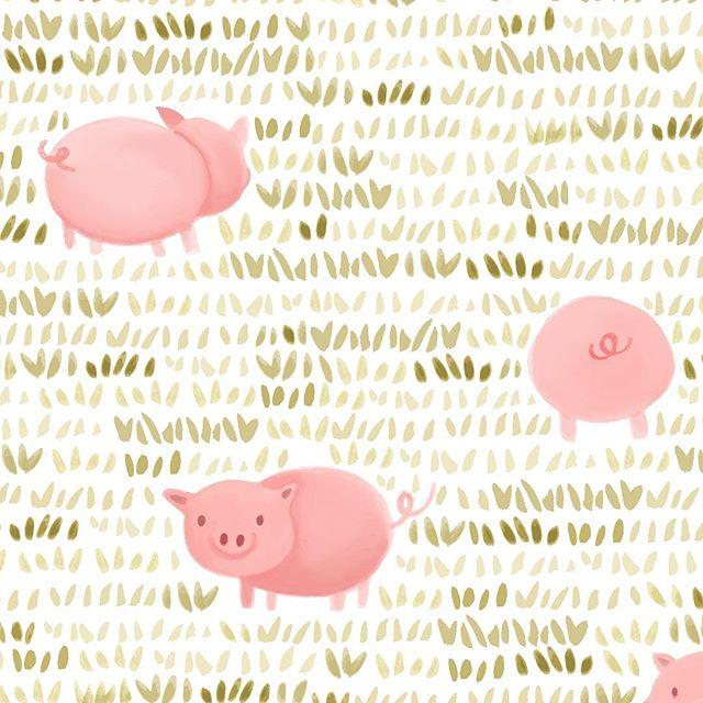 Painted pig pattern #oink . . . . . . .  #illustration  #illustrationoftheday  #art  #children  #childrensbooks  #picturebooks  #drawing  #illustrated  #handdrawn  #mixedmedia  #sketcheveryday  #arteveryday  #makeandcreate  #instaart  #creativity  #kidslit  #cute  #kidslitart #pig #patterndesigner  #design