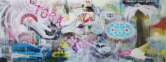 "Toca El Pito  24"" x 60""  Mixed Media collage on Panel  2012"