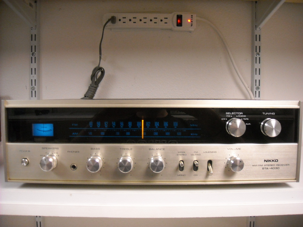 Nikko – STA-4030 - $125.00 Used 5/25/14 Very nice Nikko receiver. Recently cleaned and serviced by a professional technician. Everything works and sounds great.  Power output: 18 watts per channel into 8Ω (stereo) AM/FM, Phono, Tape Aux. Loudness, Stereo/Mono and A/B speaker switch. On the back there is 4Ch input/Adapter. RCA jacks for the inputs as well as the speakers. 5 pin tape rec/pb jack.