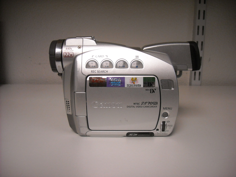 Canon – ZR70-MC - $140.00 Used 5/25/14 Recently cleaned and serviced by a professional technician. Everything functions like new. Just a wonderful little camcorder.  MiniDV camcorder with 22x optical zoom, 440x digital zoom, image stabilization 2.5-inch fold-out color LCD screen and color viewfinder Super Night mode for low-light filming, Motion JPEG movie mode Takes digital stills (1024 x 768) and stores them on included 8 MB Secure Digital memory card Connects to PCs and Macs via Firewire (IEEE1394) and USB (for photos)