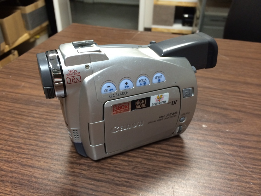 Canon – ZR60 – Camcorder - $140-$155   Cleaned and serviced by a professional technician. Everything functions like new. Just a wonderful little camcorder. 30 day warranty!     MiniDV camcorder with 18x optical zoom, 360x digital zoom  Image stabilization for smoother and steadier video  2.5-inch fold-out color LCD screen and color viewfinder  Takes digital still photos and stores them on tape  Connects to PCs and Macs via Firewire (IEEE1394)     Ticket #: SH160707-76