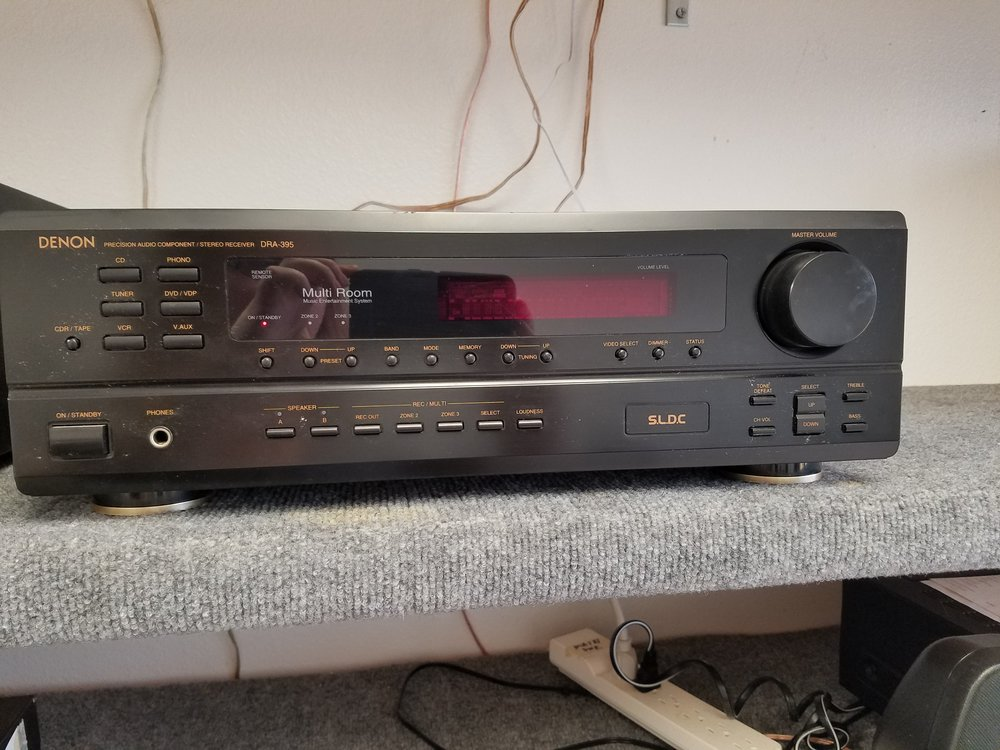 Denon Rec DRA-395 - 195.00  Used  SPECIFICATIONS  Response Bandwidth -10 - 50000 Hz Signal-To-Noise Ratio -100 dB Total Harmonic Distortion - 0.009 % Sound Output Mode- stereo Additional Features: A-B speaker switch, multi-room audio output, mute button, source direct, Bass Control, Treble Control Output Power / Total - 160 Watt Input Impedance - 47 Ohm Input Sensitivity - 200 mV Output Power / Channel- 80 Watt Output Impedance / Channel- 8 Ohm Frequency Response- 20 - 20000 Hz Tuner Type- digital Tuner Bands- AM/FM Tuner Frequency Range- AM: 520 - 1710 kHz, FM: 87.5 - 107.9 MHz Preset Station Qty- 40 AM antenna, FM antenna, remote control, subwoofer output, turntable audio input, audio line-in, audio line-out, audio line-out (multi zone), composite video output (multi zone), composite video/audio input, composite video/audio output, headphones, monitor output Connector Type- F connector, RCA, phone stereo 6.3 mm, RCA x 2, RCA x 3 Connector Location- front, rear 5.8 in x 17.1 in x 16.4 in Weight: 21.38 lbs