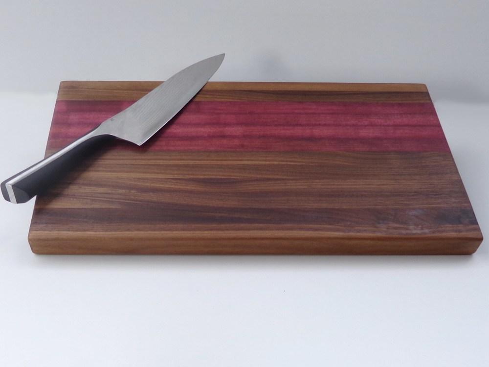 purpleheart  walnut cutting board  sj woodworks,