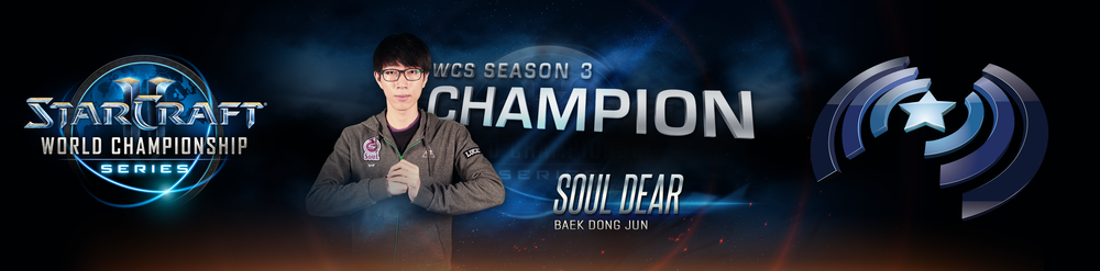 WCS Season 3 Champion Graphic, presented on a 4380x1080 Multiscreen