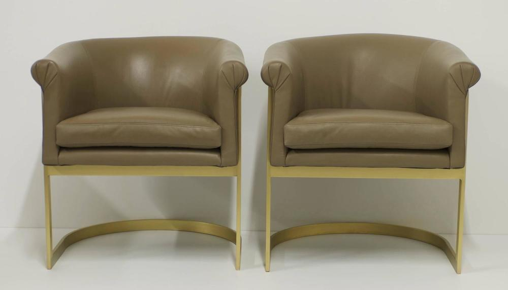 SOLD Matt Brass And Leather Petite Barrel Back Milo Baughman Attributed  Chairs