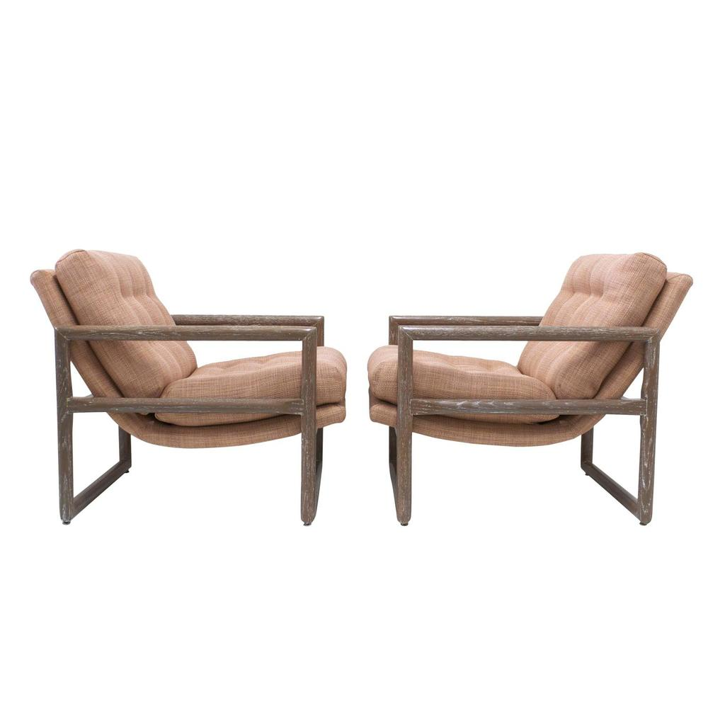SOLD Pair Of Milo Baughman Grey Cerused Oak Scoop Cube Lounge Chairs