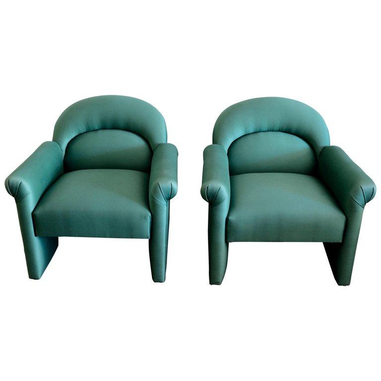 Enjoyable Pair Of Upholstered Emerald Green Postmodern Lounge Chairs Flow Modern Dailytribune Chair Design For Home Dailytribuneorg
