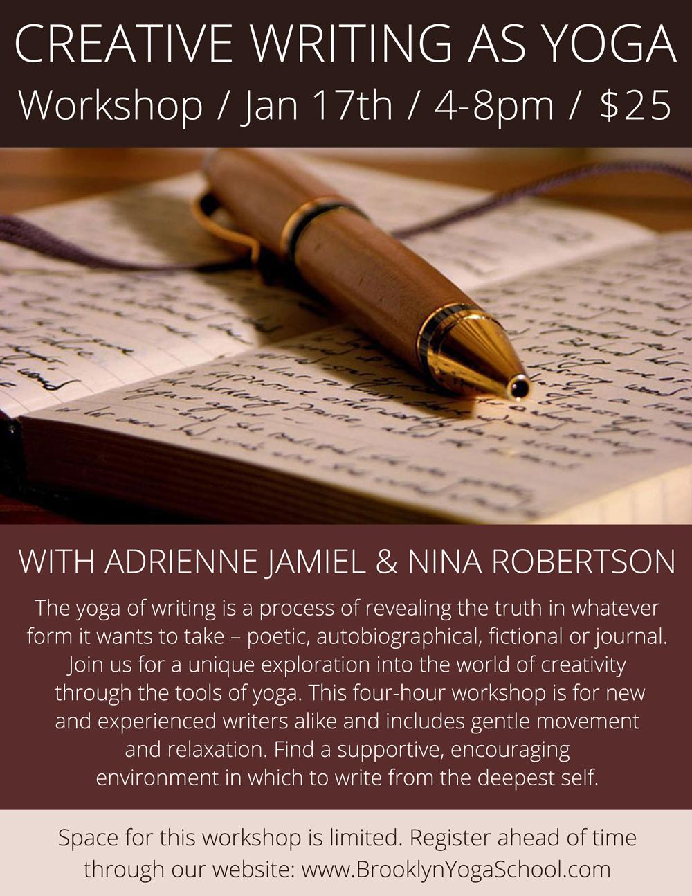 Creative Writing As Yoga Workshop