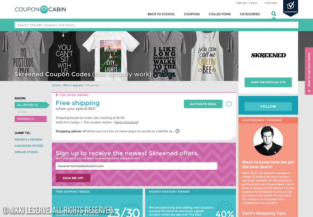 Coupon Cabin Store Banner