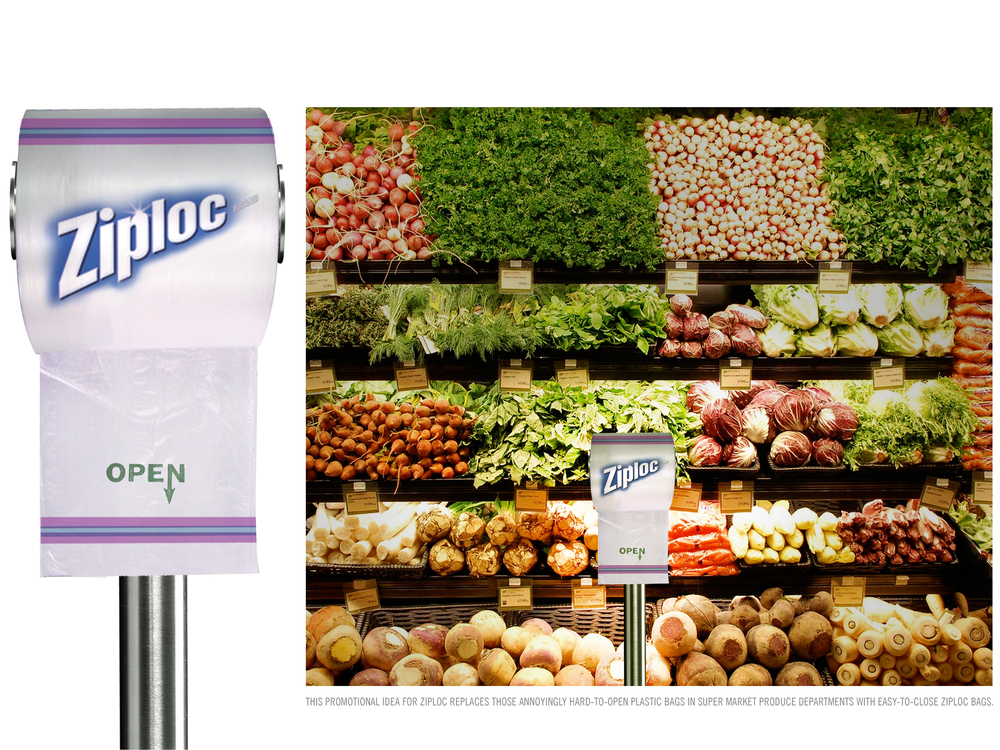 THIS PROMOTIONAL IDEA FOR ZIPLOC REPLACES THOSE ANNOYINGLY HARD-TO-OPEN PLASTIC BAGS IN SUPERMARKET PRODUCE DEPARTMENTS WITH EASY-TO-CLOSE ZIPLOC BAGS.
