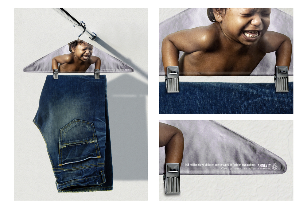 """168 million slave children are tortured in fashion sweatshops. Choose anti-sweatshop fashion."" THE HORRORS OF SLAVE CHILDREN LABOR ARE DEMONSTRATED IN THIS PROMOTIONAL HANGER."