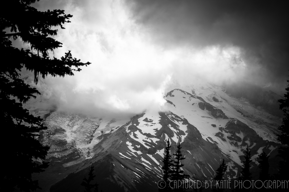 Mt Rainier in B&W By Captured By Katie Photography, Bonney Lake Photographer