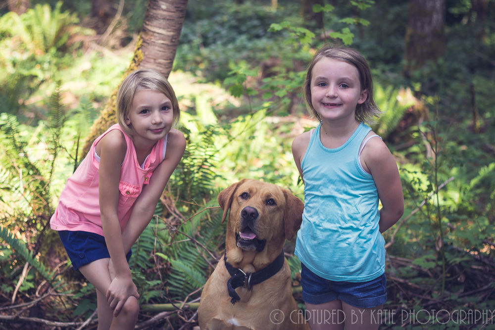 Girls and Their Dog By Captured By Katie Photography, Bonney Lake Photographer