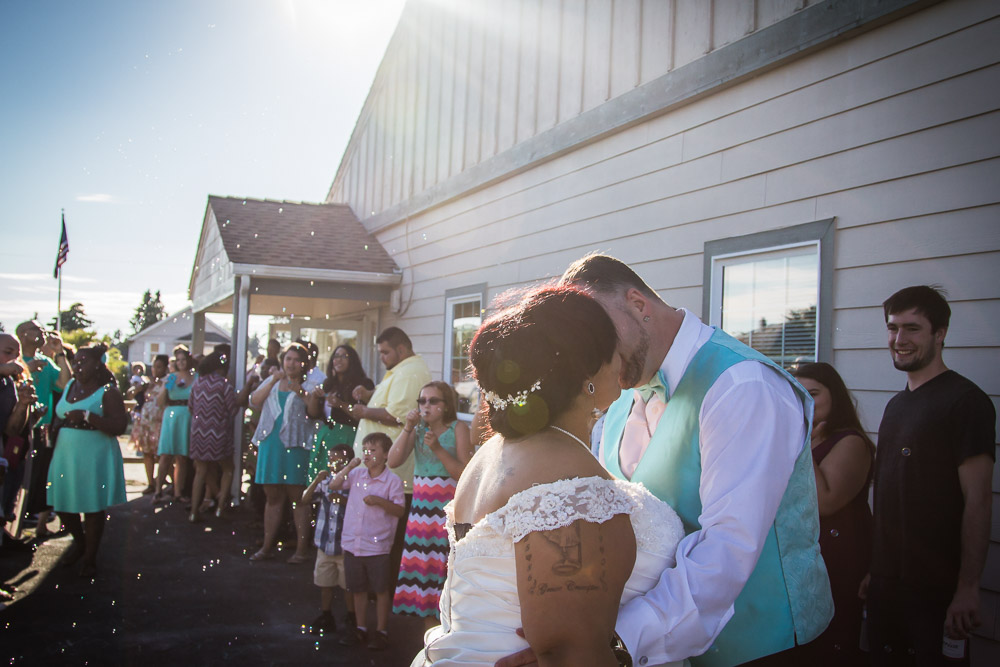 Bubble Exit by Captured By Katie Photography, Bonney Lake Wedding Photographer