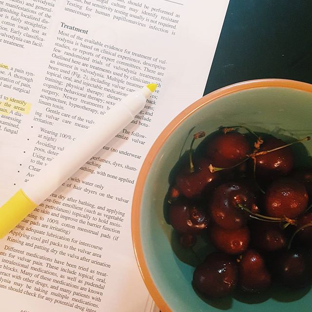 Reading about lady parts and snacking on 🍒🍒 that I keep forgetting I bought and overall just wishing it were Thursday night instead of Wednesday. 😴