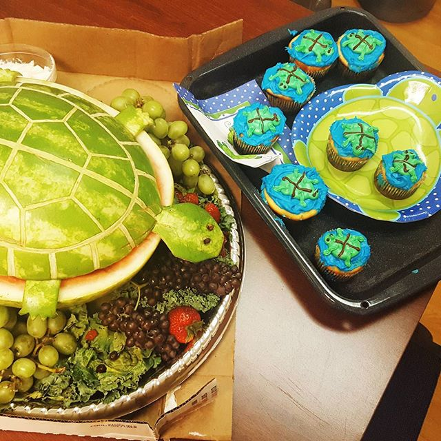Baby shower for one of the girls at clinic today - I can't get over the watermelon turtle! 🐢 🐢 🐢