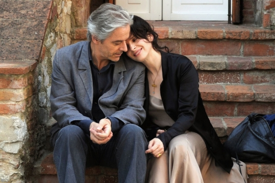 A man questions the distinction between originality and duplication in works of art.  A woman battles fatigue while raising a son, nourishing a career, and compensating for an absent husband.  The two meet and learn a tremendous amount from each other.    Certified Copy  is an artful and intellectual, nay brilliant, little film.  The subject matter is explored deliberately through layers of imagery and sound, which are cast one over the other and then reflected back on to themselves.  Kiarostami commands the inseparable harmonic and melodic constituents of cinema's symphony, and in so doing, gently nudges the audience through thoughtful notions of love, reliance, and authenticity in all its forms.       - Certified Copy (Kiarostami 2011) @ Clay Theatre