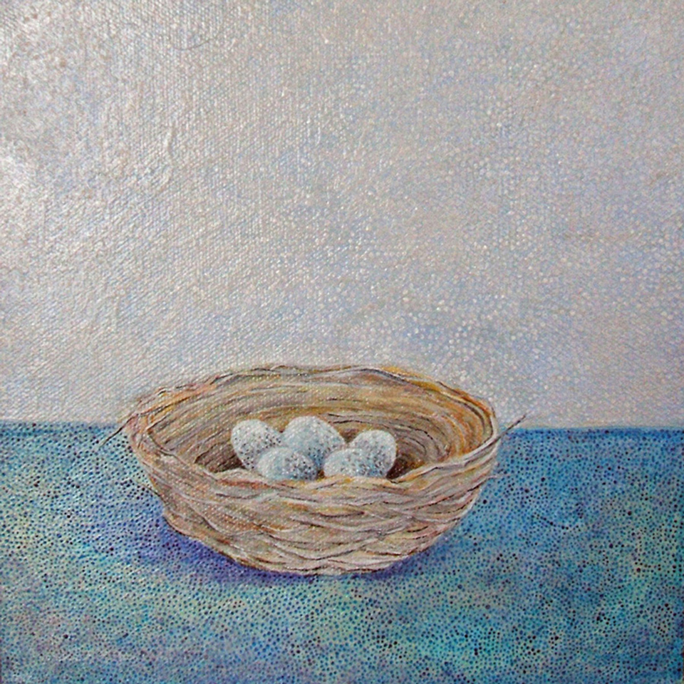 "Nest , acrylic on canvas, 8"" x 8"""