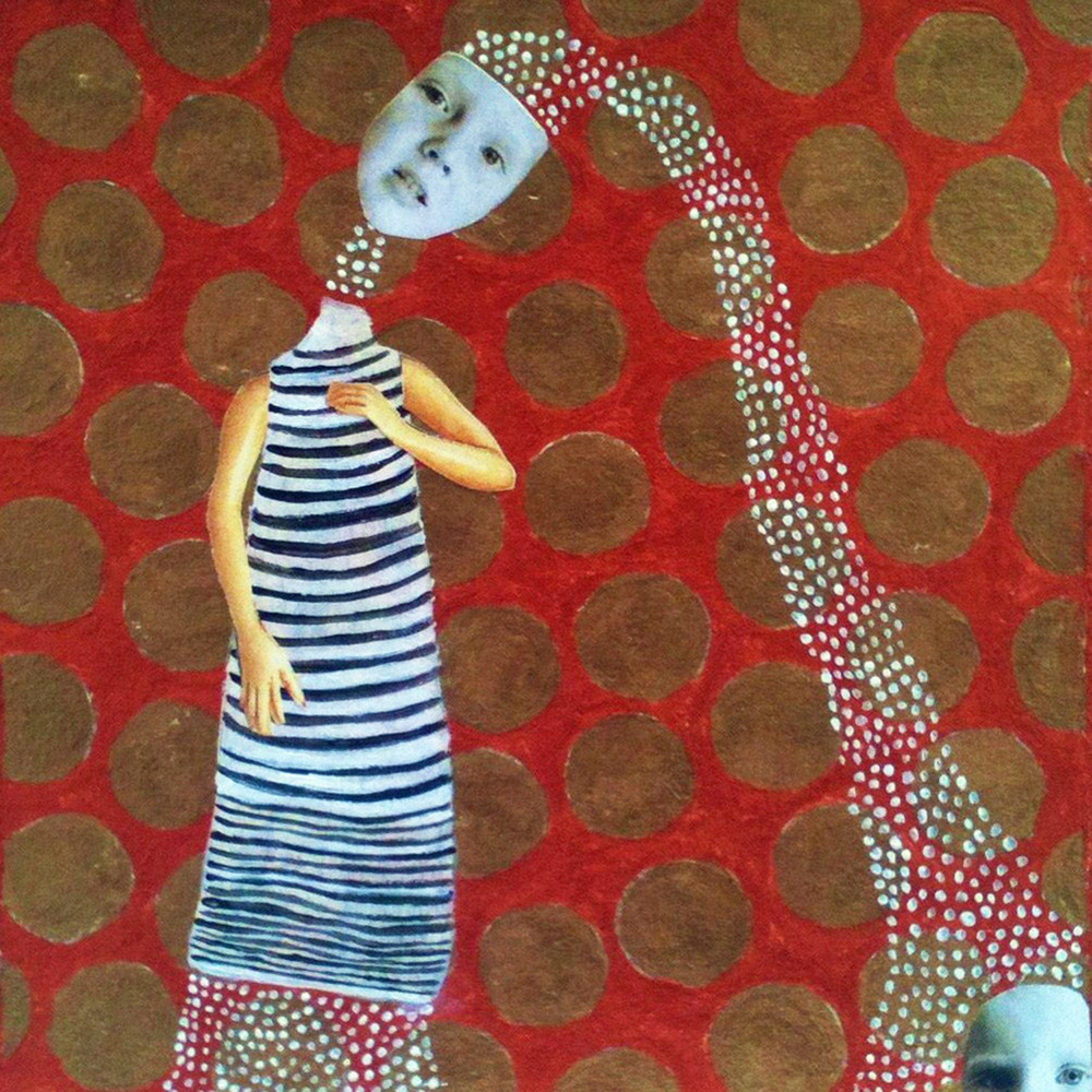 """Family No. 2 , acrylic & collage on paper, 6"""" x 6"""", 2011 *"""