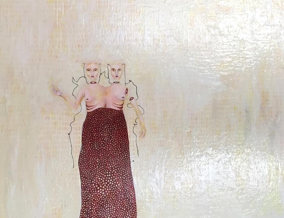 """Twins , acrylic on panel, 16"""" x 20"""", 2009"""