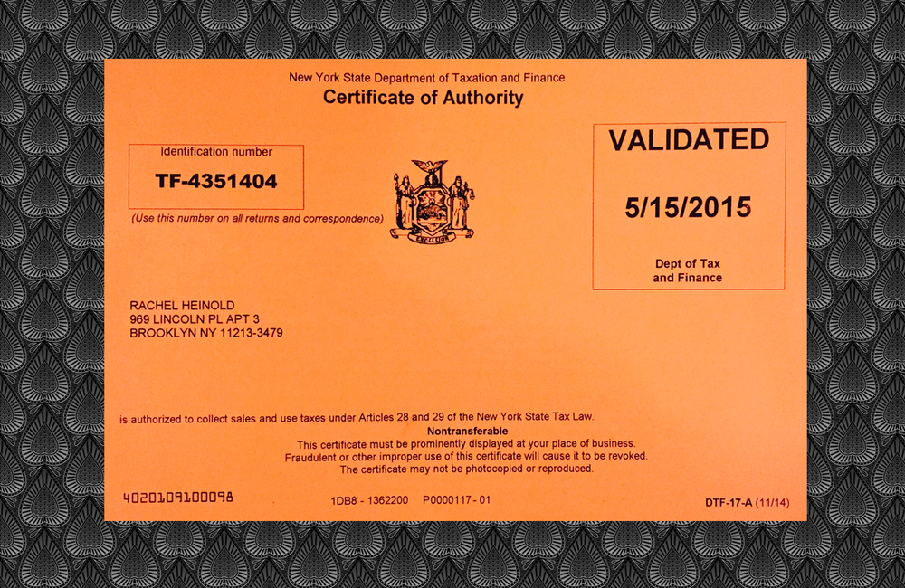 NY Sales Tax Certificate — ways of knowing