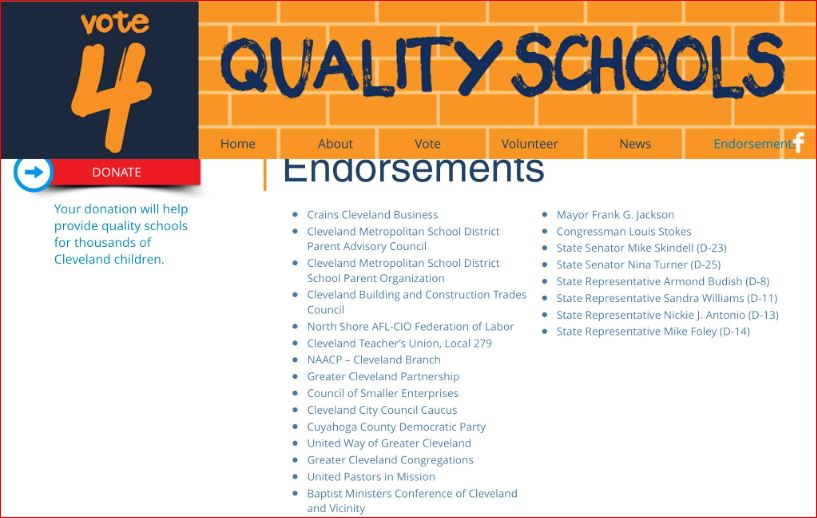 Endorsements posted on qualityschoolsforallourkids.com