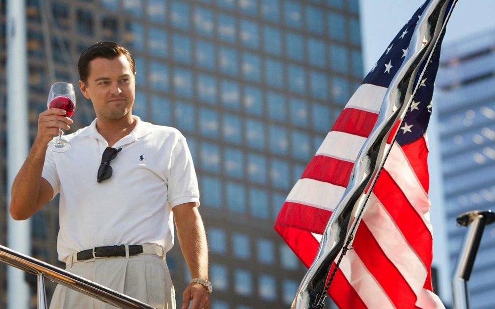Jordan Belfort (Leonardo DiCaprio) in  The Wolf of Wall Street (2013)