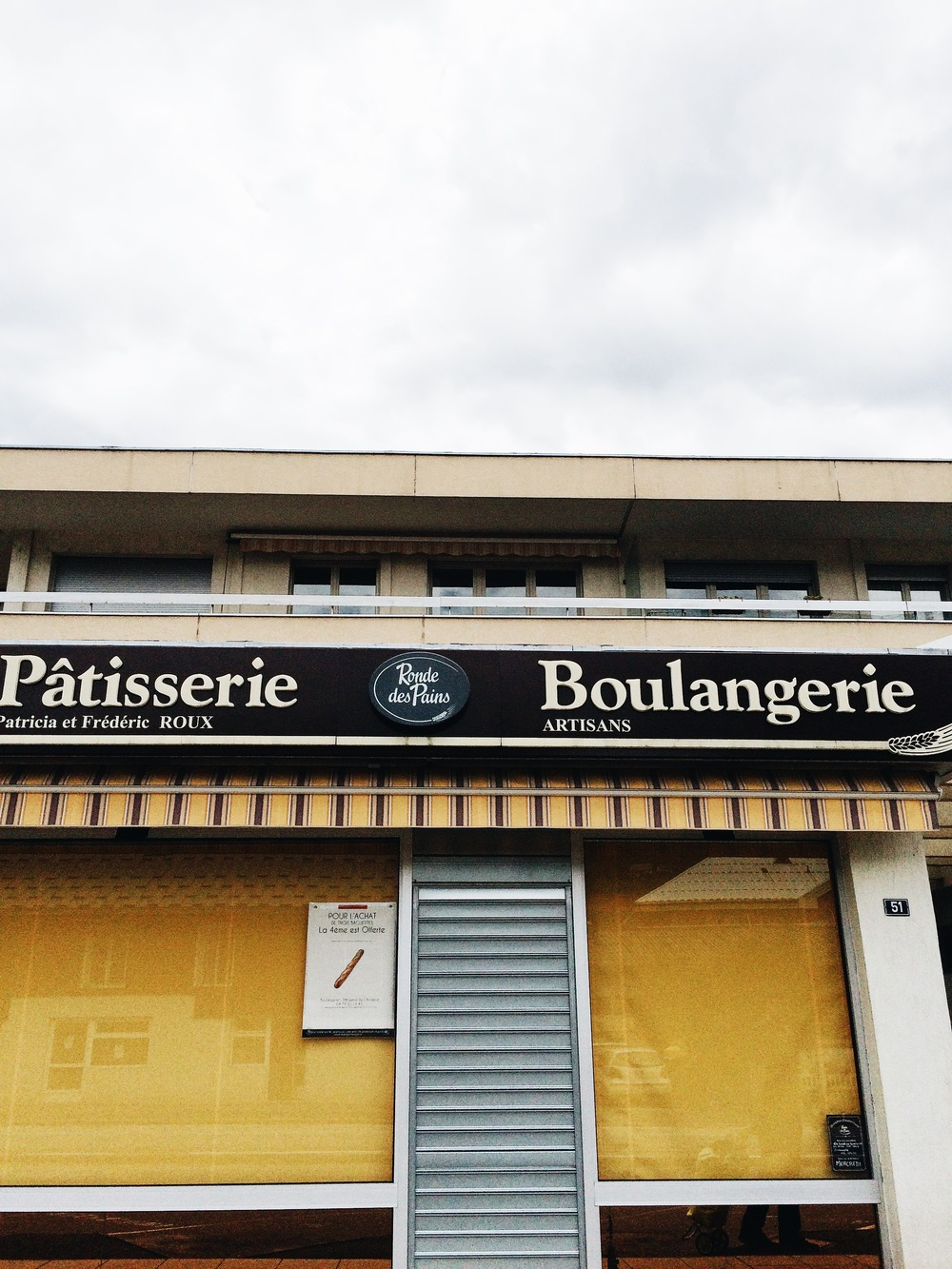 Our little boulangerie (bread shop) down the street from our apartment. They were closed for the summer and didn't open up until September, and then of course they close on Wednesdays and Sundays, so getting a photo of when they are actually open proved to be difficult.