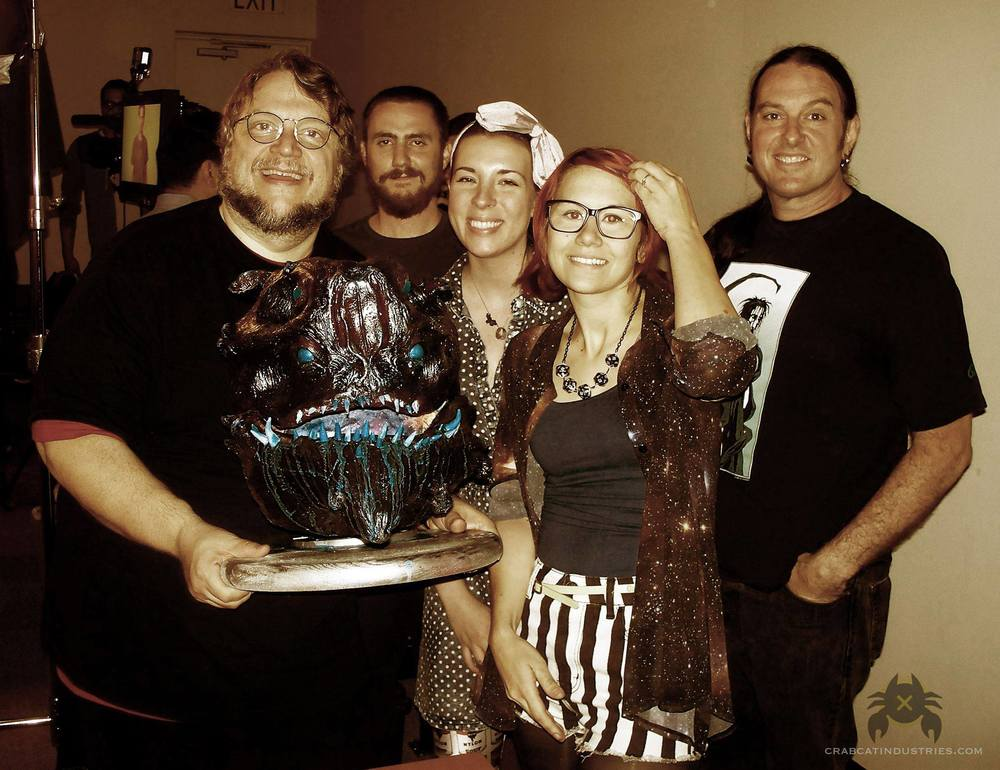 From left to right Guillermo Del Toro, Ben Schwenk, Jessica Merizan, Holly Conrad, Lee Shamel