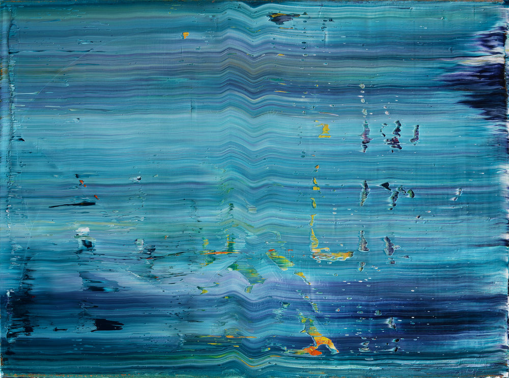 """Wake"" is an original, abstract oil painting by Los Angeles based artist, Laura Viapiano."