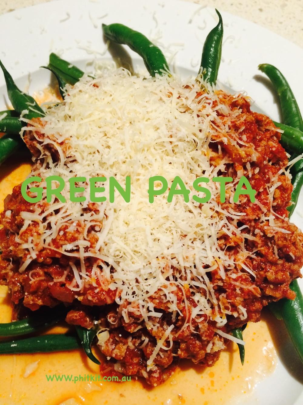 PhitFood, Green Beans Spaghetti Bolognese