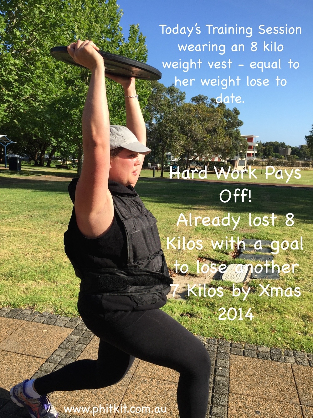 Client Wears 8kg Weight Vest During Training To Reflect Her Current Weight Lose.