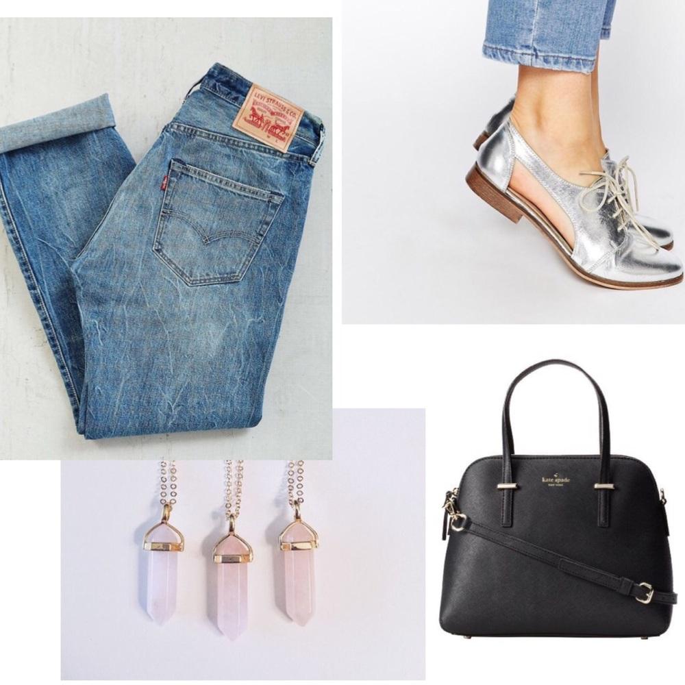 Levi's 501ct's, ASOS shoes, KATE SPADE handbag, Stargaze Jewlery