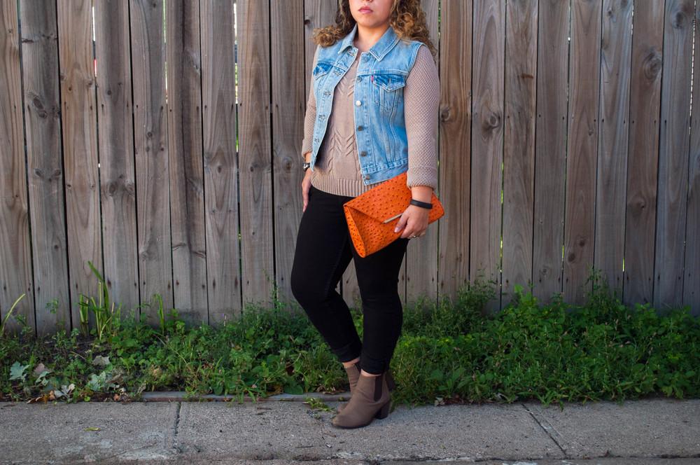 Levi's vest & jeans, MERONA clutch