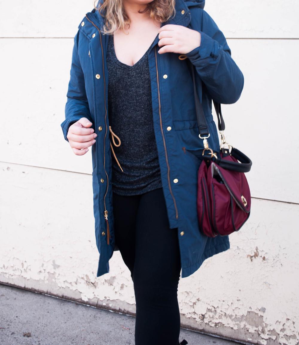Coat LEVI'S, Top EXPRESS, Leggings VS PINK, Shoes CHARLES ALBERT, Bag STEVE MADDEN