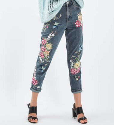 TOPSHOP / MOTO    Floral Embroidered Mom Jeans
