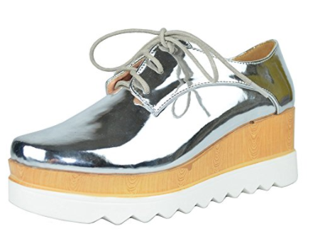 CHASE & CHLOE    WING TIP LACE UP PLATFORM