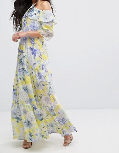 ASOS    Boohoo Tie Detail Floral Print Maxi Dress