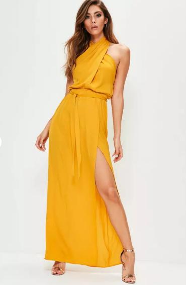 MISSGUIDED    Yellow Twist Neck Maxi Dress