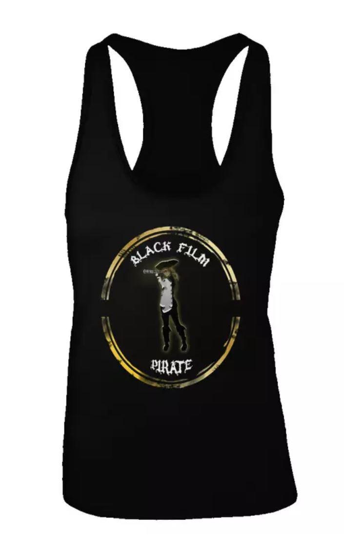 #BlackFilmPirate Womens Racerback Tee w Logo