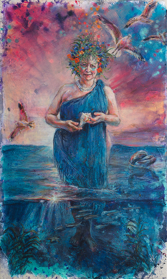 Embody Your Muse - Mollie Kellogg - Incognito Witch: Ocean Goddess, mixed media, 36x60
