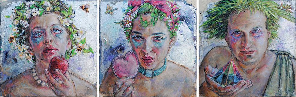 Embody Your Muse - Mollie Kellogg -Three 12x12's created for MZ Urban Art, New York, NY