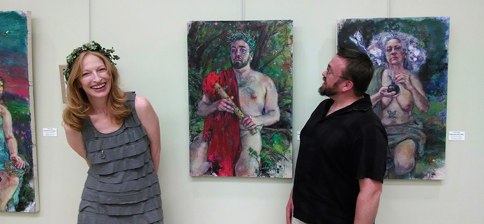 Embody Your Muse - Mollie Kellogg - Mollie Kellogg at First UU Art Guild 2014 reception with model, Roy Attridge