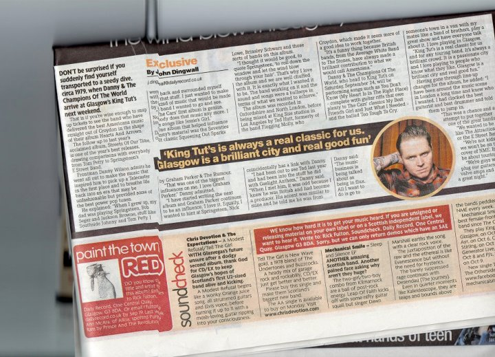 "Chris Devotion & The Expectations - A Modest Refusal/Tell The Girl    Reviewed by  Rick Fulton  for the  Daily Record.      ""With Glasvegas's future unsure after a dodgy second album, thank God for CD/EX to keep Glasgow's hopes of Scotland's first U2-sized band  alive and kicking .      A Modest Refusal begins like a  wonky  Orange Juice song, all strummed guitars and Elvis voice, before turning it up to 11 with a mosh-loving guitar ripping into your consciousness.      Tell The Girl is New Wave gold, a 1978 blend of The Undertones and Buzzcocks.      A heady mix of garage rock and rockabilly, CD/EX just get better and better.      Please buy this single and make them Scotland's biggest new band."""