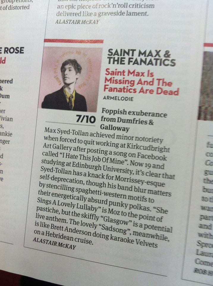 "SAINT MAX AND THE FANATICS reviewed in the new issue of Uncut. ""Energetically absurd punky polkas"" …Nice! Pre-order the album HERE. Yas!"